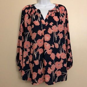 Ivanka Trump Pink and Navy Floral Blouse